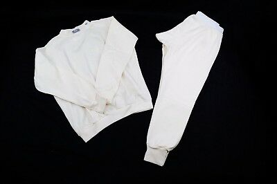 Rjs Sfi 3.3 Fr Racing Armor Underwear Aramid Nomex 2 Piece Top & Bottom White Xl