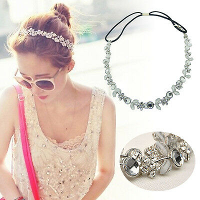 Women Fashion Elastic Metal Rhinestone Crystal Headband Head Chain Hair Band Hot