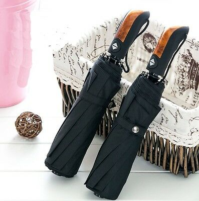 Automatic Umbrellas Open & Close Windproof Vented Mens Womens Auto Black Rain