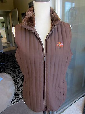 EP Pro women's golf fur lined thin quilted vest choc brown w/southwest logo Med