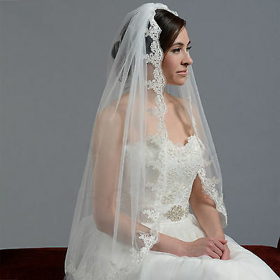 White Ivory 1 Layer 85cm Lace Edge Wedding Accessory Bridal Veil with Comb
