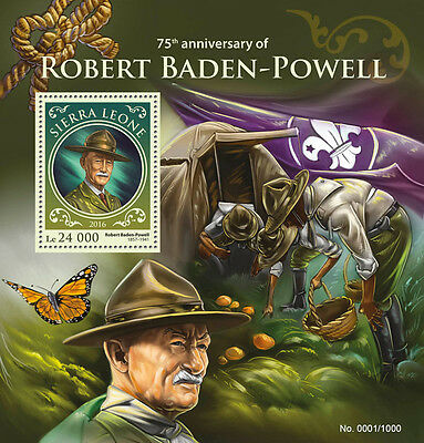 Sierra Leone 2016 MNH Robert Baden-Powell 75th Mem 1v S/S Scouting Scouts Stamps