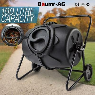 NEW 190L Food Waste Garden Recycling Compost Bin Aerated Compost Tumbler Bin