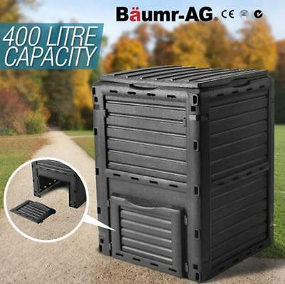 Grey 400L Garden Recycling Composter Aerator Aerated Compost Bin Food Waste