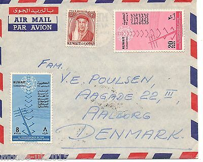 Kuwait 1962 Commercial Cover To Denmark + Adhesives On Reverse.