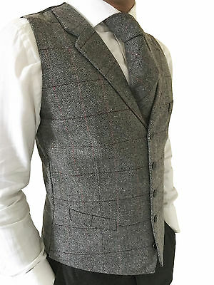Mens Wool Blend Tweed Grey Tailored Fit Herringbone Check Lapel Waistcoat Vest