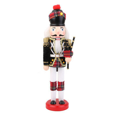 Hand Paint Wood Nutcracker with Bagpipes Christmas Display Ornament Toy 30cm