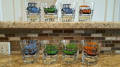 Set Of 8 Vintage Car Drinking Glasses Ford Chevy maxwell Studebaker Oakland