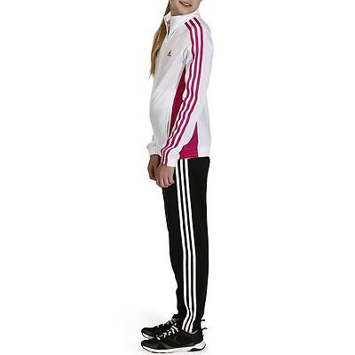 Genuine ADIDAS Girls Decadia Gym Sportswear/Tracksuit, White/ Black, 5-6yrs