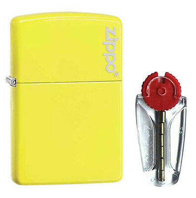 Neon Yellow Zippo Lighter with Logo 28887ZL - FREE FLINTS & FREE P&P!