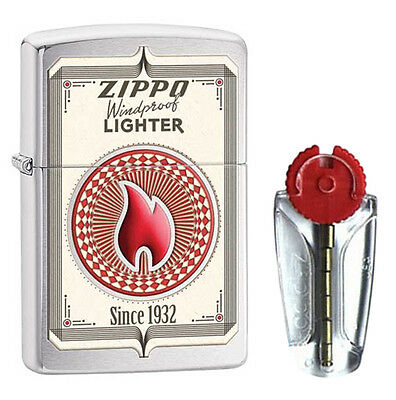 Zippo Trading Cards Zippo Lighter in Brushed Chrome 28831 - FREE FLINTS & FREE P