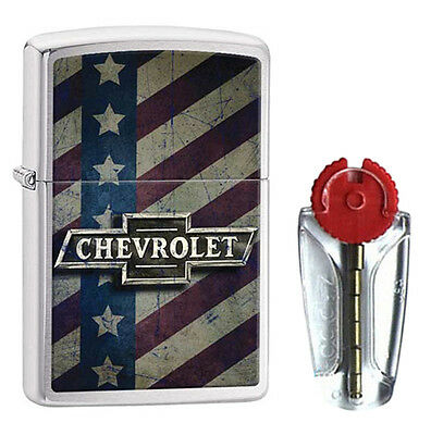 Chevy Bow Tie & Stars Zippo Lighter in Brushed Chrome 29148 - FREE FLINTS & FREE