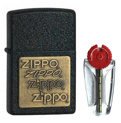 Black Crackle with Brass Emblem Zippo Lighter 362 - FREE FLINTS & FREE P&P!