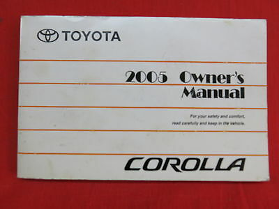 2005 Toyota Corolla Owners Manual Guide Book