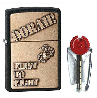First to Fight Zippo Lighter - US Marines Black Crackle 28368 - FREE FLINTS & FR