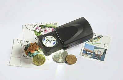 Lighthouse Leuchtturm Stamp Coin Gemstones Illuminated Pull Out 20X Magnifier