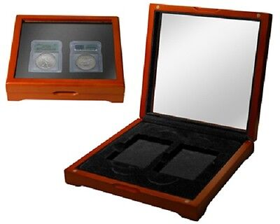 2 Certified Coin Oak Display Box Slabs Case PCGS NGC IGC New ANACS Safe Deposit