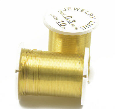 10 Spools Gold Copper Wire Beading Jewelry DIY String Thread Cord 0.3mm 10M