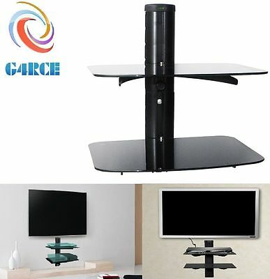 Glass TV LCD LED Wall Bracket 2 Tiers Shelves Shelf For DVD Sky Box Game Console