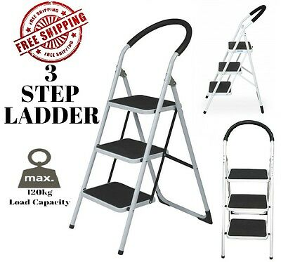 Multi Purpose 3 Step Steps Ladder Domestic Household Office Foldable Steel Frame