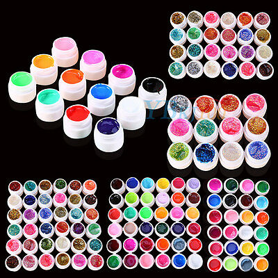 Solid Pure Glitter Mix Color Gel Acrylic UV Builder Sets Nail Art Manicure Tools