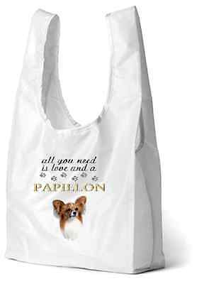 Papillon Dog Printed Design Eco-Friendly Foldable Shopping Bag SBPAP-1