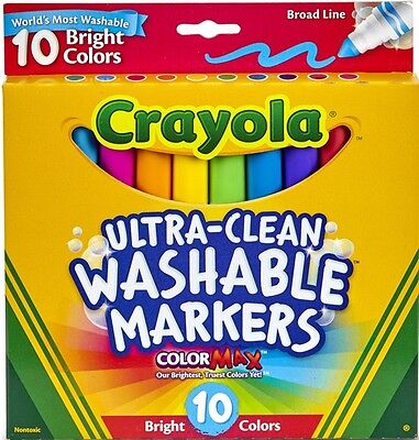 10 Ultra Clean Washable Broad Line Markers Bright Colors from Crayola 58-7855