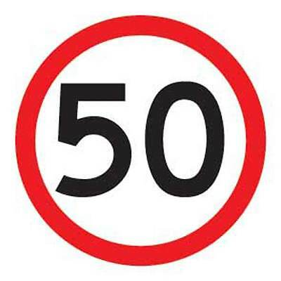 Speed Limit 50km Safety Sign Corflute Class 1 Reflective 600x600mm