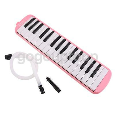 32 Keys Plastic Melodica Keyboard Mouthpiece Blow Hose Soft Carry Bag Pink