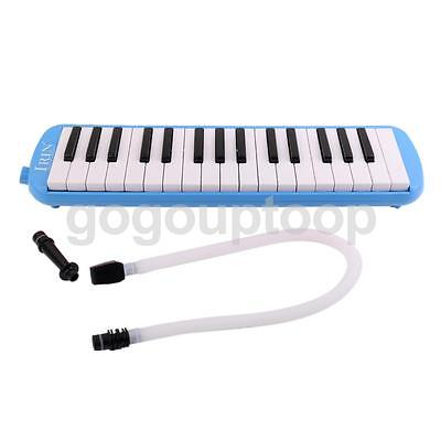 32 Keys Plastic Melodica Keyboard Mouthpiece Blow Hose Soft Carry Bag Bue