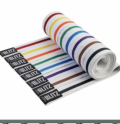 Blitz Striped Karate Belt - All colours and Sizes