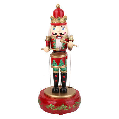 Hand Painted Wooden MUSICAL Box MOVING TOY Drummer NUTCRACKER 33cm Xmas Gift