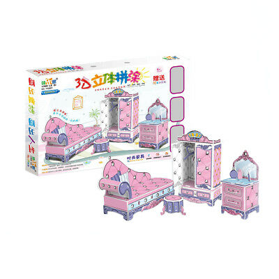 Dolls House Furniture for Barbie 3D Model Puzzle Jigsaw Kids Toy DIY Paint