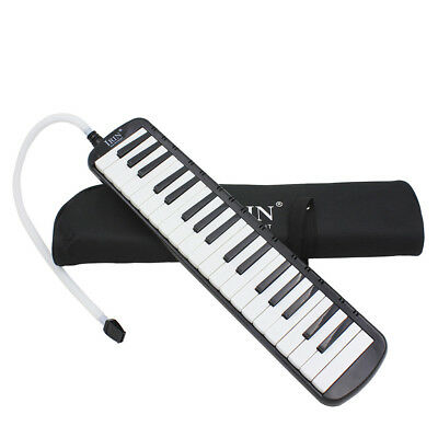 37 Keys & Mouthpiece Plastic Melodica Reed Keyboard Harmonica With Bag Black