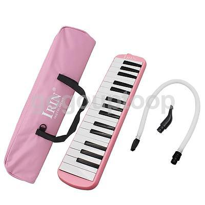 32 Keys & Mouthpiece Plastic Melodica Reed Keyboard Harmonica With Bag Pink