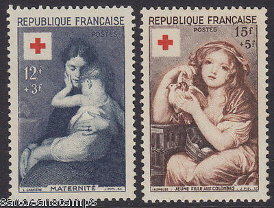 FRANCE - 1954 Red Cross Fund (2v) - UM / MNH