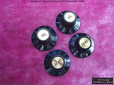 Vintage 1968 Gibson Witchhat Knobs Witch Hat Black GOLD LES PAUL CUSTOM 1969 !!!