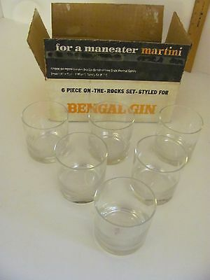 Vintage Bengal Gin 6 Piece on The Rocks Glass Set Maneater Martini Glasses
