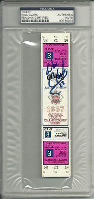 WILL CLARK SIGNED 1987 NLCS GM3 TICKET PSA DNA GIANTS v CARDINALS AUTO AUTOGRAPH