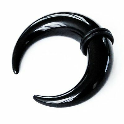Black Acrylic Buffalo Horn Curved Claw Ear Stretcher Taper with O Rings