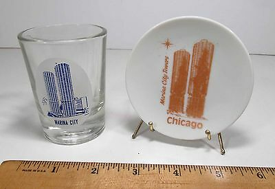 Vintage 1960s Marina City Towers Chicago IL Souvenir Wall Plate & Shot Glass