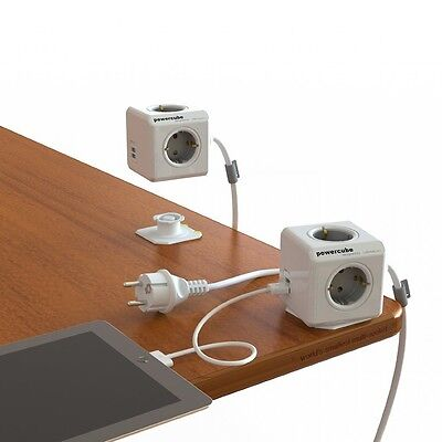 Extended PowerCube Socket DE Plug 4 Outlets Dual USB Adapter 1.5m Cable Switched