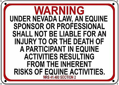 NEVADA Equine Sign activity liability warning statute horse farm barn stable