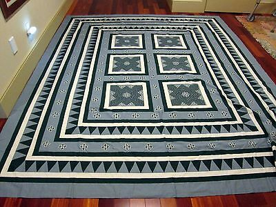 HMONG BEDSPREAD hand stitched reverse appliqué pattern by artisan Kaying Xiong