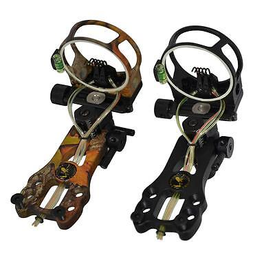 Fiber 5 Pin Archery Bow Sight LED Light Adjust Hunting Target For compound Bow