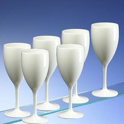 Unbreakable Plastic Polycarbonate LARGE White Wine Glasses 350ml/12oz.(set of 6)