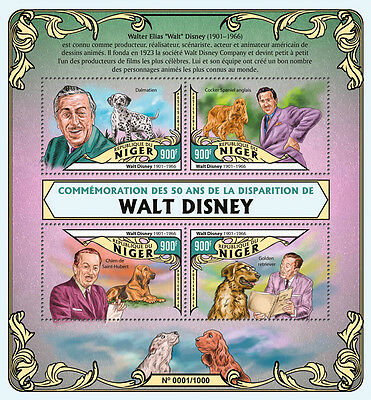 Niger 2016 MNH Walt Disney 50th Memorial Anniv 4v M/S Dogs Dalmatian Stamps