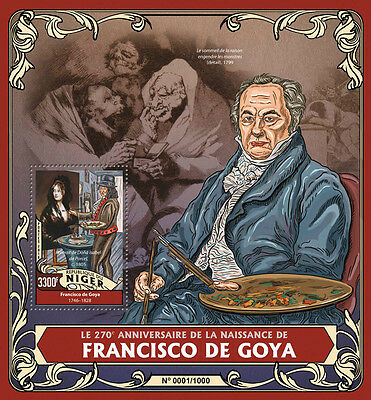 Niger 2016 MNH Francisco De Goya 270th Birth Anniv 1v S/S Art Paintings Stamps