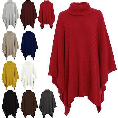 Womens Shawls Ladies Grid Knitted Wrap Polo Cowl Turtle Neck Poncho Jumper Cape