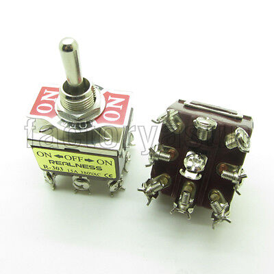Heavy Duty Toggle Switch 3PDT 9 Screw Terminal ON-OFF-ON 3 Position 15A 380V
